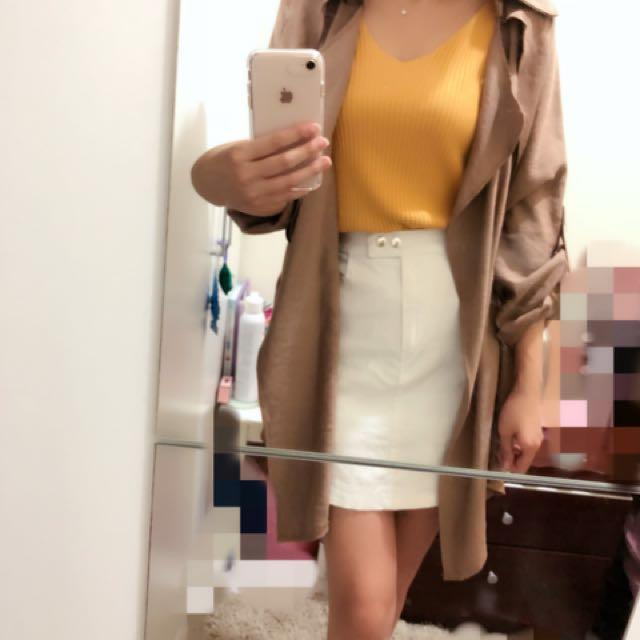 正韓 二手 白色窄裙 有口袋 短裙 卡其布