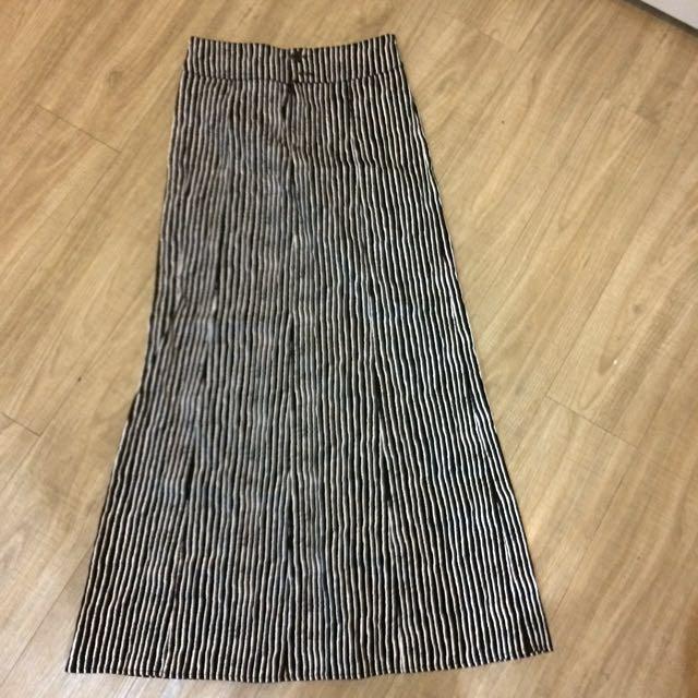 A Line Stripy Skirt Black & White