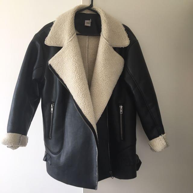 ASOS Oversized faux leather shearling jacket coat