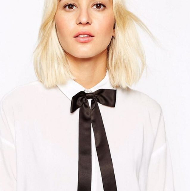 Asos satin bow with metal tips - brand new