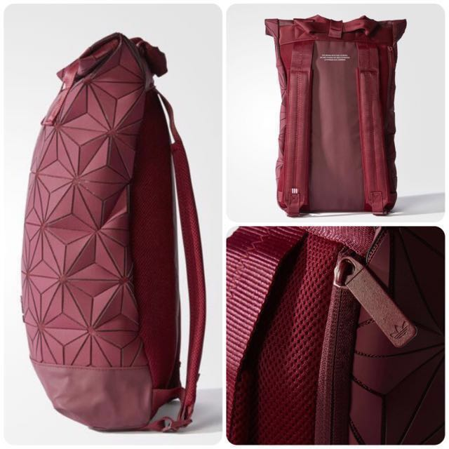 b9dad53f06b1  AUTHENTIC  LATEST NEW SEP 17 LAUNCH  Adidas 3D Mesh Roll Top Backpack   Issey  Miyake Style Bag (Wine Red Burgundy DH0101)