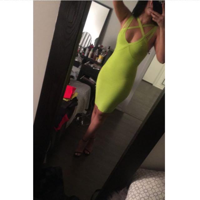 BEBE bright yellow dress size M