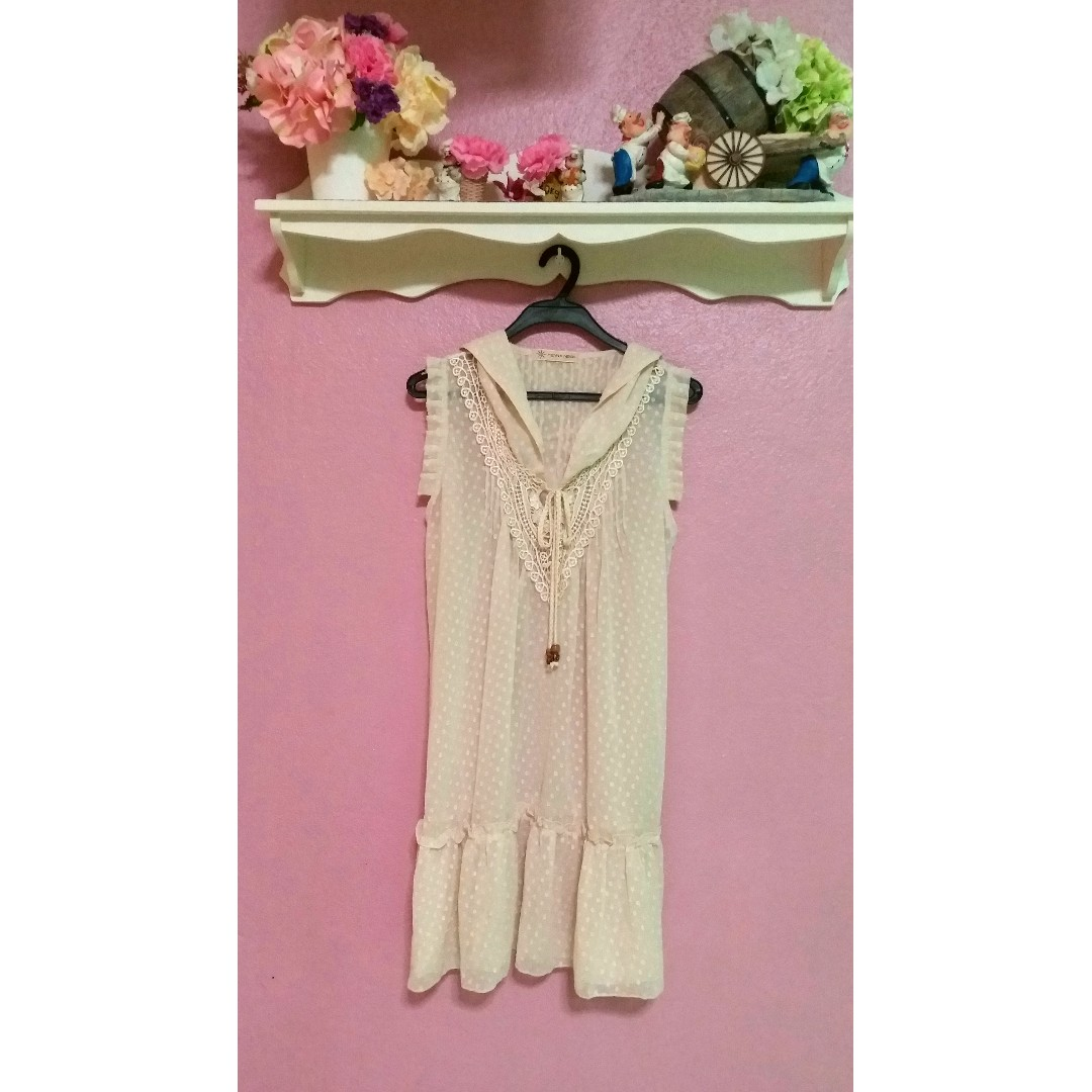 Beige Outerwear Polkadots Dress
