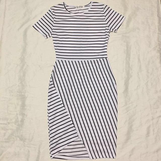 Black & White Striped Pencil Dress