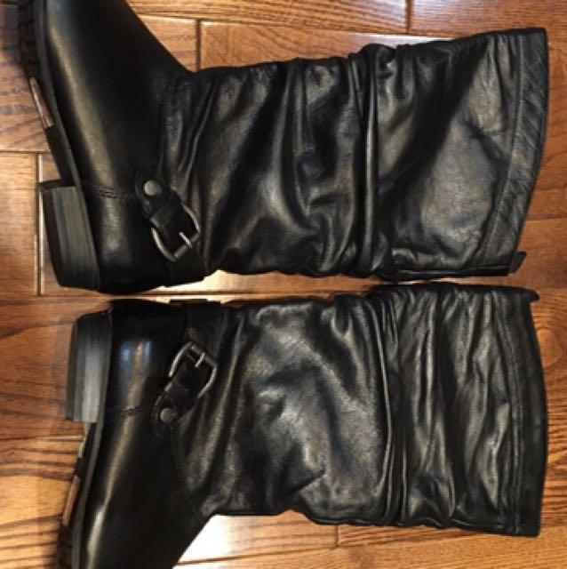 Black leather aldo boots size 6