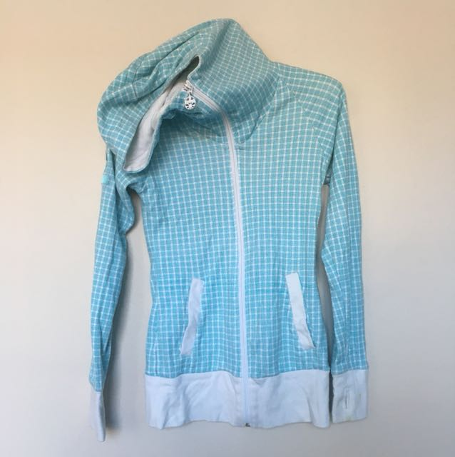 Blue/White Bench Hoodie with slouchie neck size S
