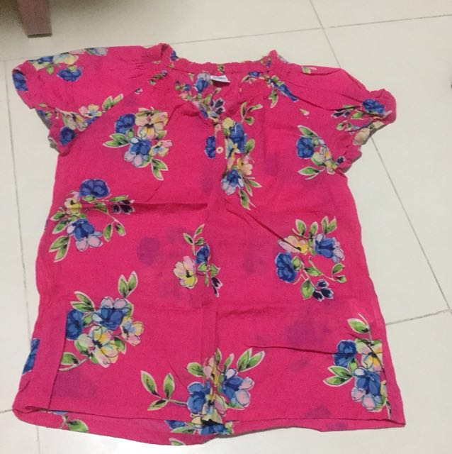 Bossini pink flower shirt womens fashion clothes tops on carousell mightylinksfo