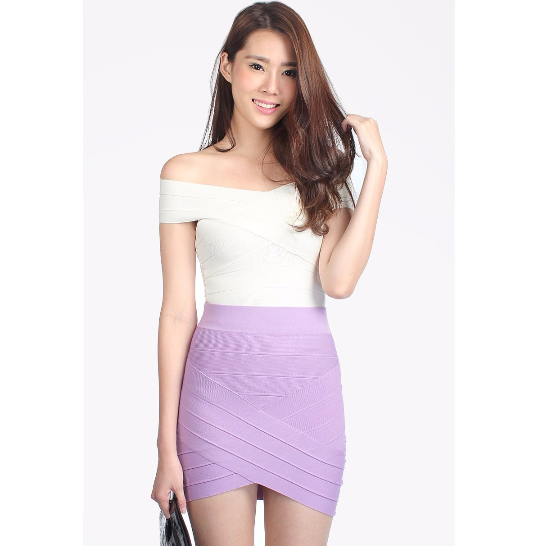 f967df9b9d Catwalkclose Bodycon Laude Bandage Skirt in Purple Lilac