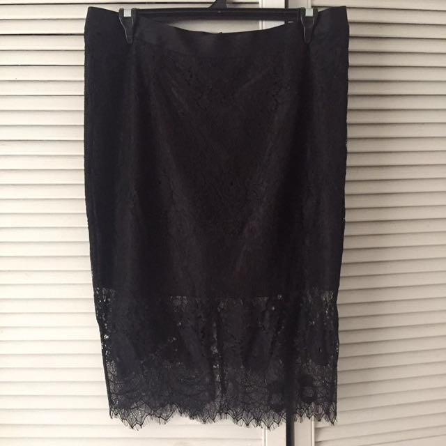 City Chic Plus Size Lace Black Skirt