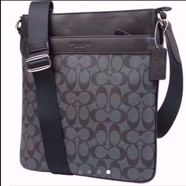 Coach men F71877 Bowery Crossbody sling bag in signature 57a723ed8fb3