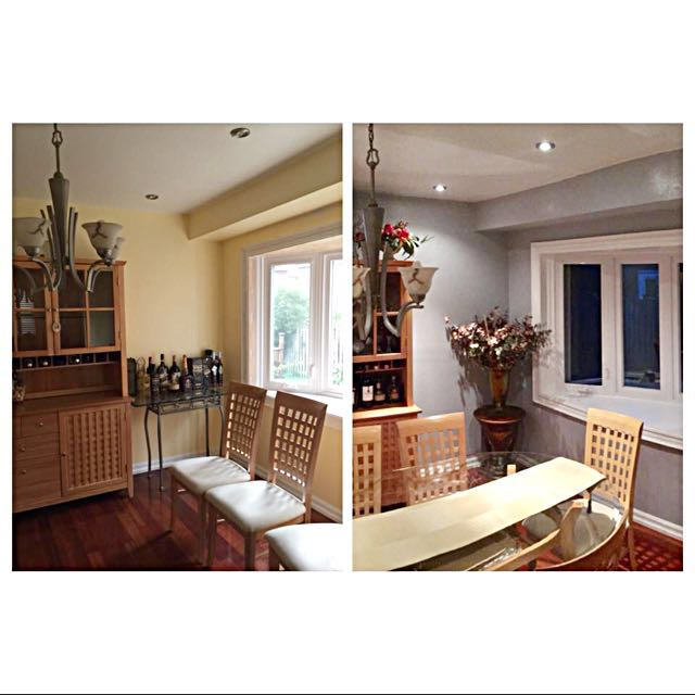 Dining table(glass top with wooden legs) + 6 chairs. Matching storage Chest in first picture also for sale
