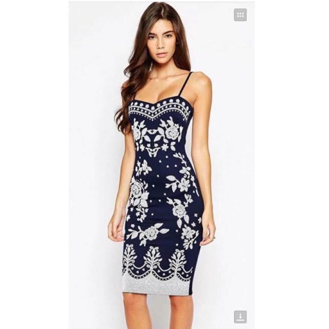 💕Embroidered Floral Print Bodycon Dress💕