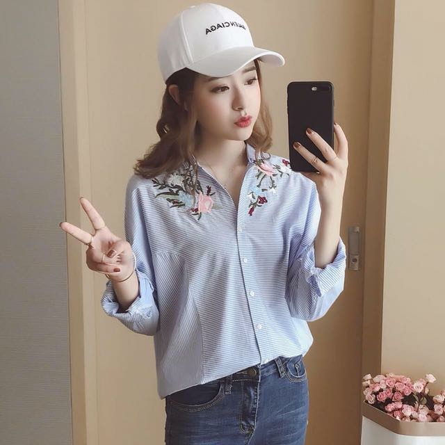 💕Embroidered Floral Shirt Blouse💕