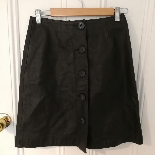 emporio armani leather vintage button up skirt