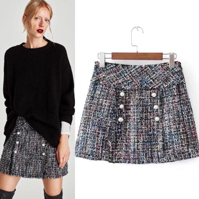4361d2080a Europe Tweed Mini Skirt faux pearl with shimmer with zip inspired Zara ,  Women's Fashion, Clothes, Dresses & Skirts on Carousell