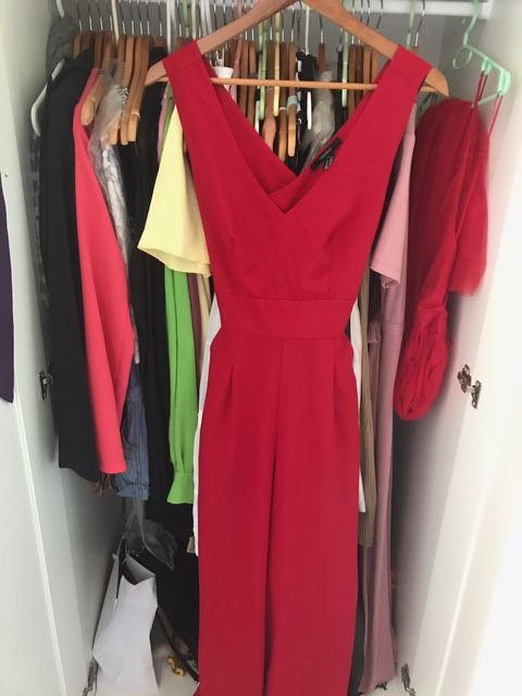 Floor Length Red Jumpsuit