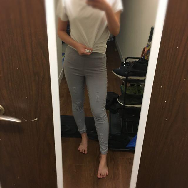 Grey ripped leggings