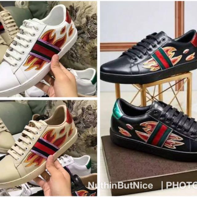 b0b2b9f65 GUCCI ACE Embroidered Sneakers With Flame on Carousell