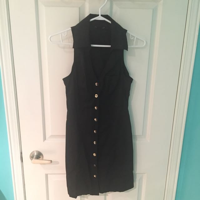 Guess black dress with gold buttons size Small