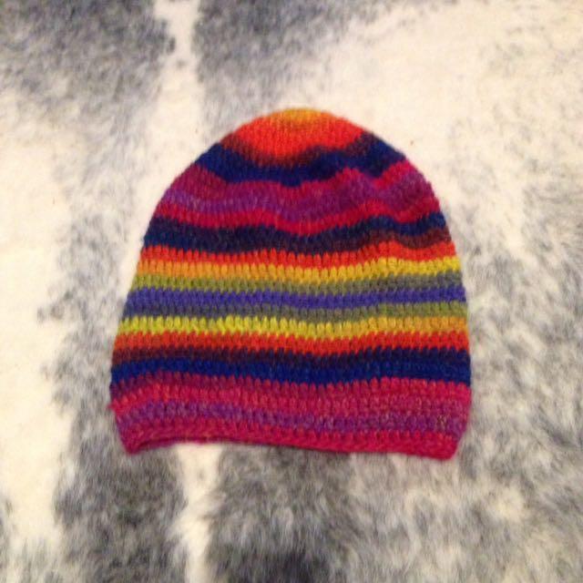 Handmade rainbow beanie free shipping