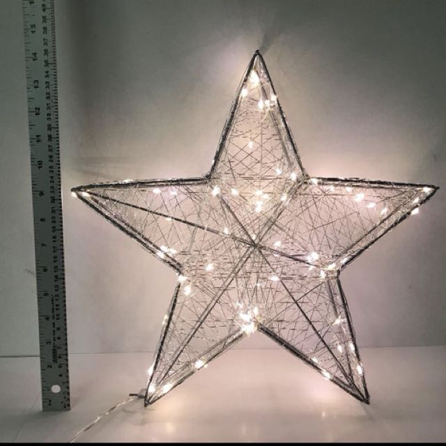 "HOLIDAY MEMORIES 16"" PRELIT SILVER STAR WITH LED LIGHTS"