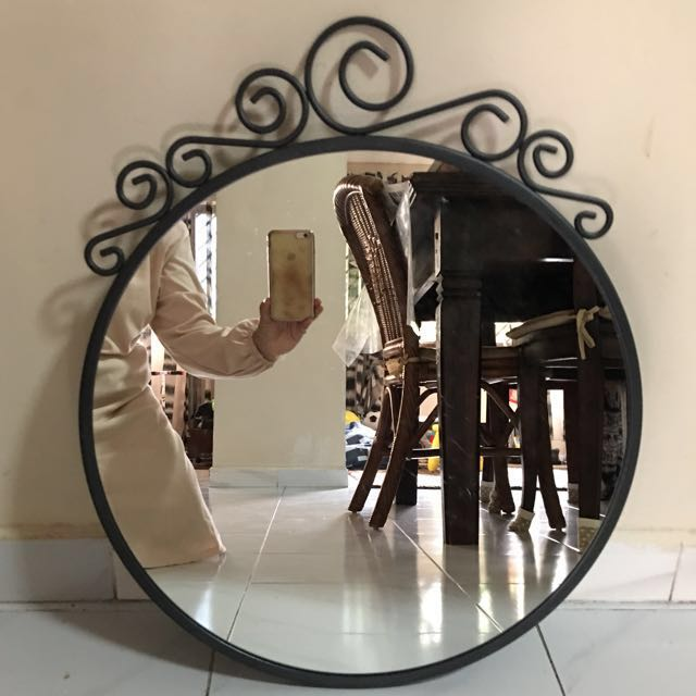 ikea ekne round mirror furniture home decor on carousell. Black Bedroom Furniture Sets. Home Design Ideas