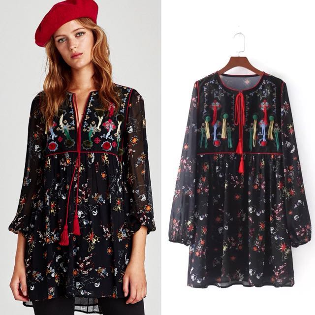 Inspired Zara Embroidered Dress With Pompom Round Neck Puffy