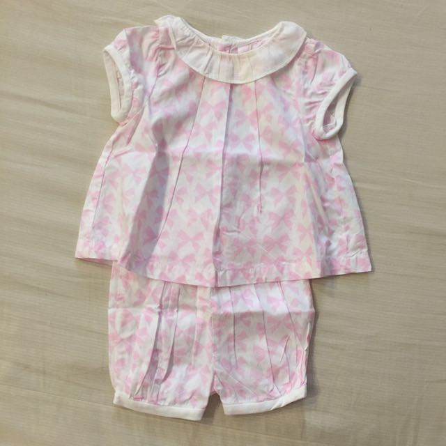 Jacadi 6M 粉色蝴蝶結套裝