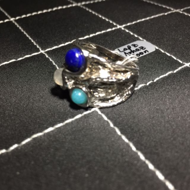 Lapiz Lazuli, Amazonite and Moonstone Ring
