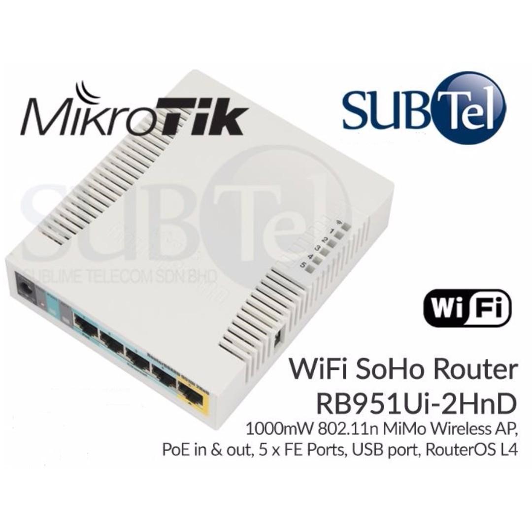 MikroTik RB951Ui-2HnD WiFi SOHO Router 5 Port POE Singapore