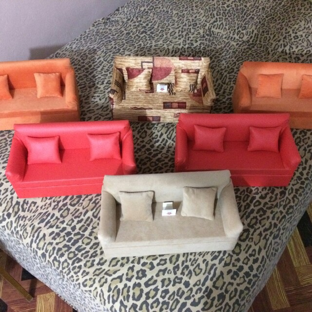 couch red living htm room sofas sofa modern furniture miniature dollhouse