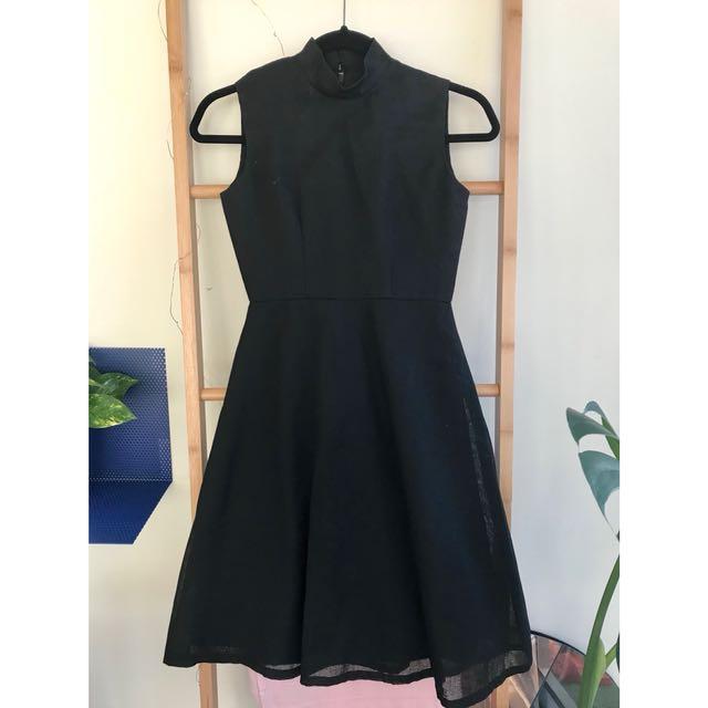 Mock neck linen dress