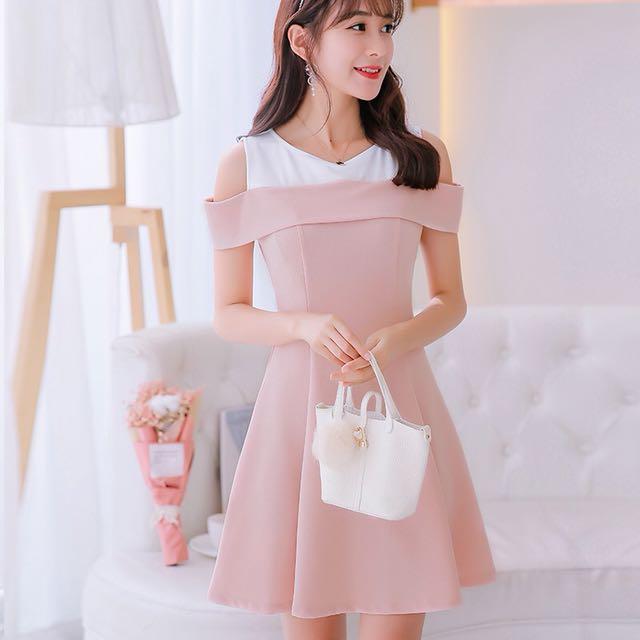 1b2742954c8e Mono-coloured Korean Style Trendy Strapless Skater Dress
