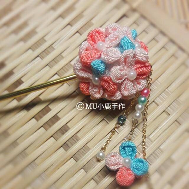 【mu小鹿手作】日式和風繡球花簪髮飾四色(花色款)