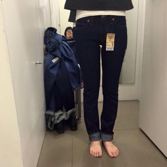 全新。MUJI 無印良品 窄版直筒褲 23/58碼