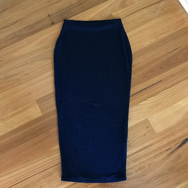 Navy cotton midaxi skirt