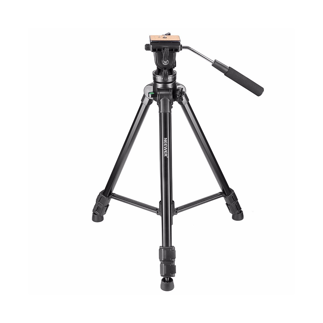 Neewer 65inches 165 Centimeters Aluminum Alloy Tripod With 360 Degree Fluid Head 1 4 Inch Quick Release Plate Bubble Level For DSLR Camera