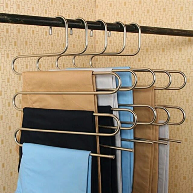 New Magic Stainless Steel Trousers Hanger Multifunction Pants Closet Belt  Holder Rack S Type 5 Layers Saving Space, Furniture, Others On Carousell