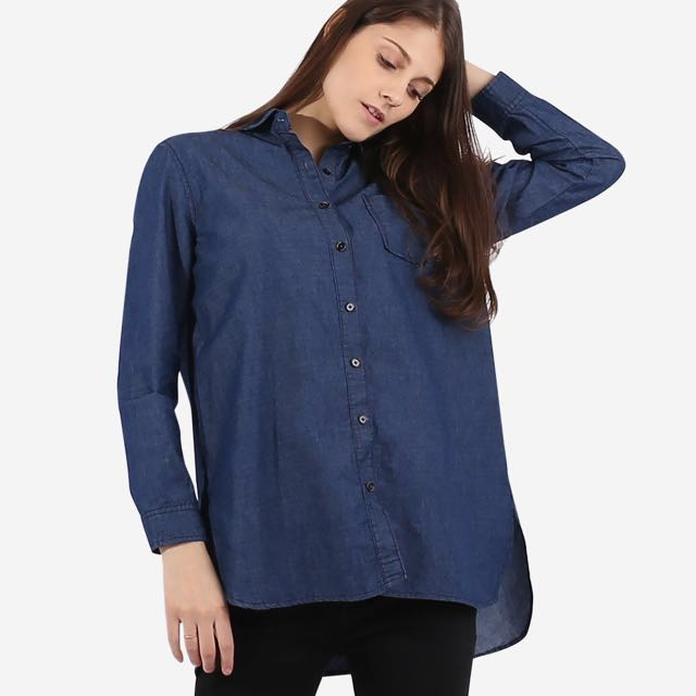 New with tag Milktee Denim Tunic long sleeve top