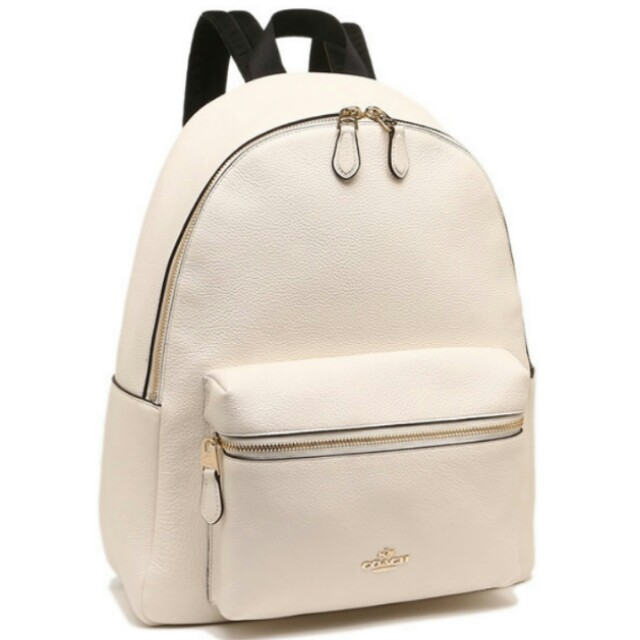 12dbf81ba COACH F38288 Charlie White Pebble Leather Backpack Bag, Luxury, Bags &  Wallets on Carousell