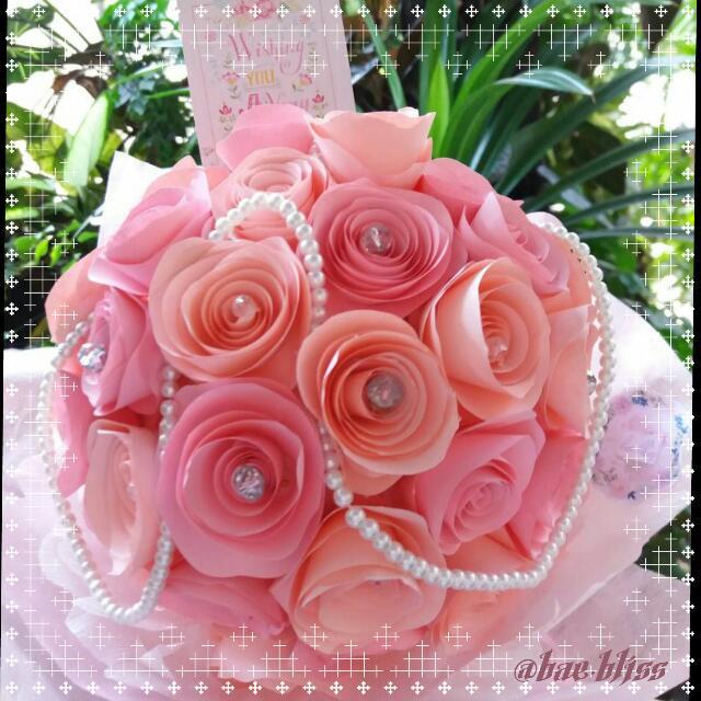 Paper Flower Hand Bouquet Design Craft Handmade Goods