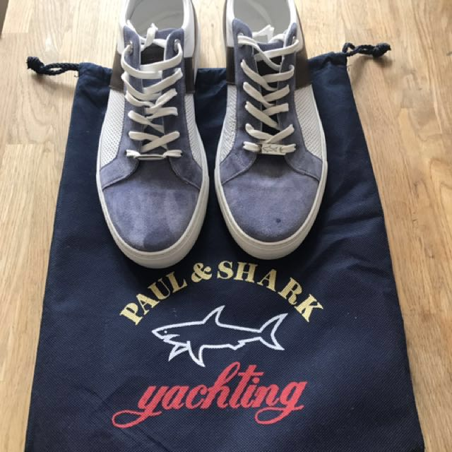 Paul Shark Yachting Men S Leather Shoes Sneaker Size 42 Uk 8 Us 9 White