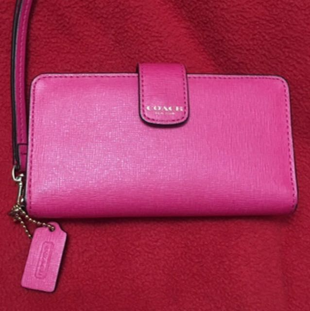 Pink Coach leather wristlet (wallet/phone case)