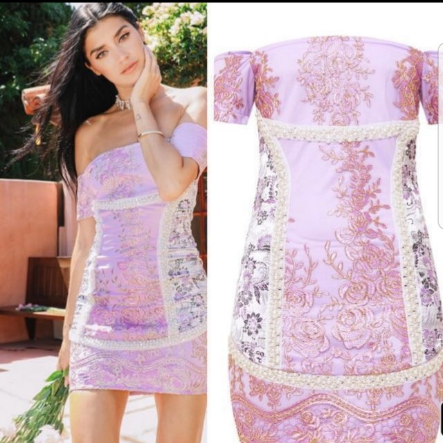 PRETTY LITTLE THING EMBROIDERED LACE DRESS