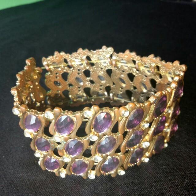 Purple and Gold Bangle Bracelet