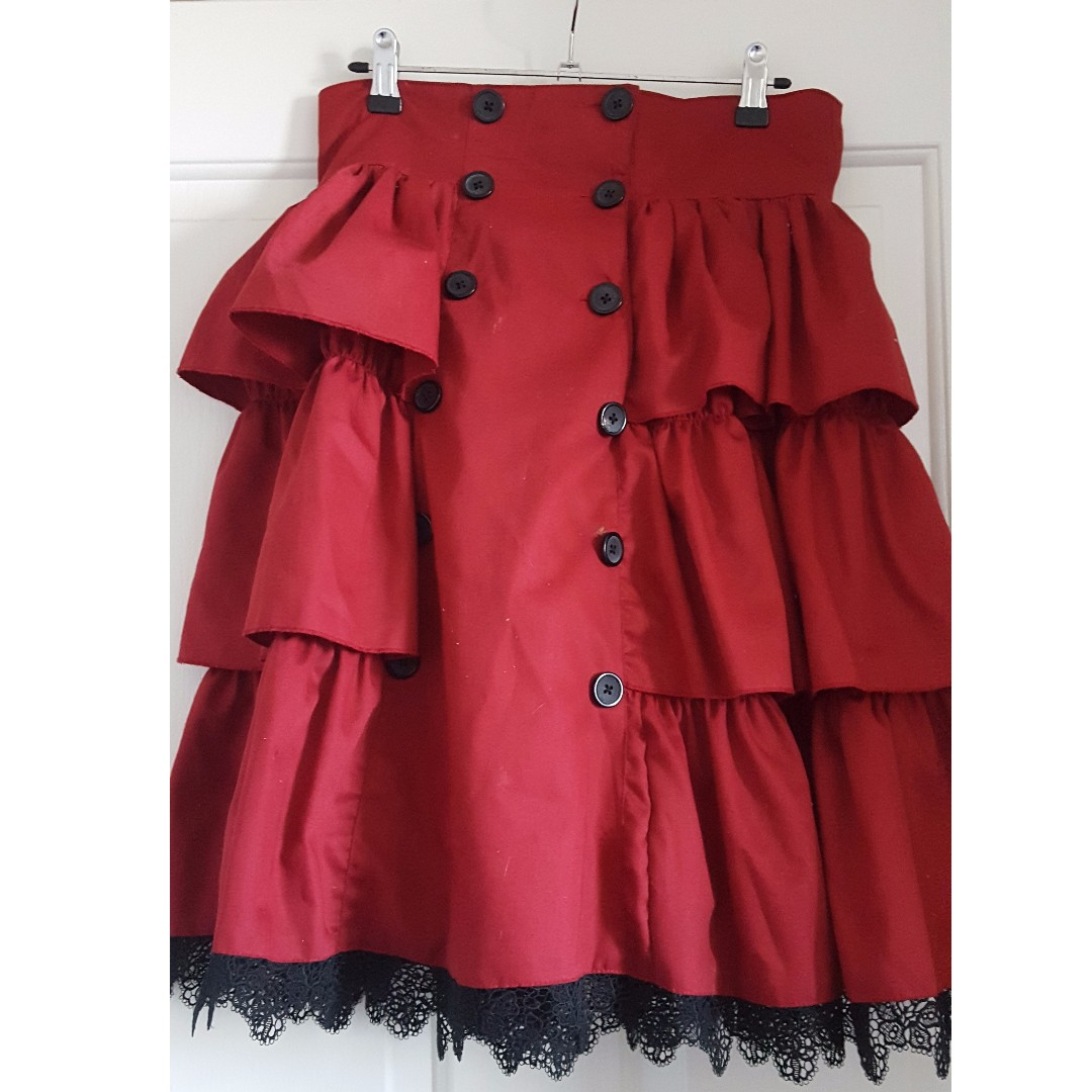 Red and Black gothic Lolita skirt size 10