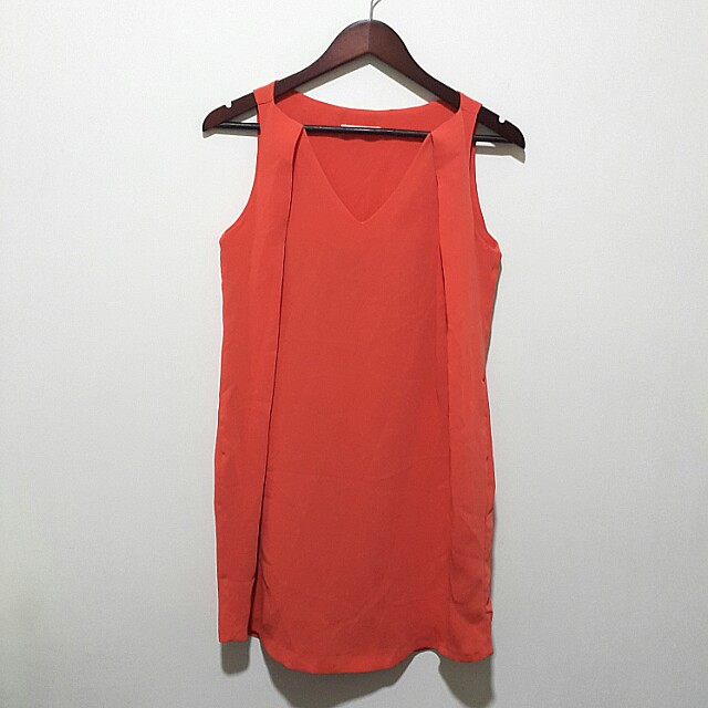 Red Orange Shift Dress