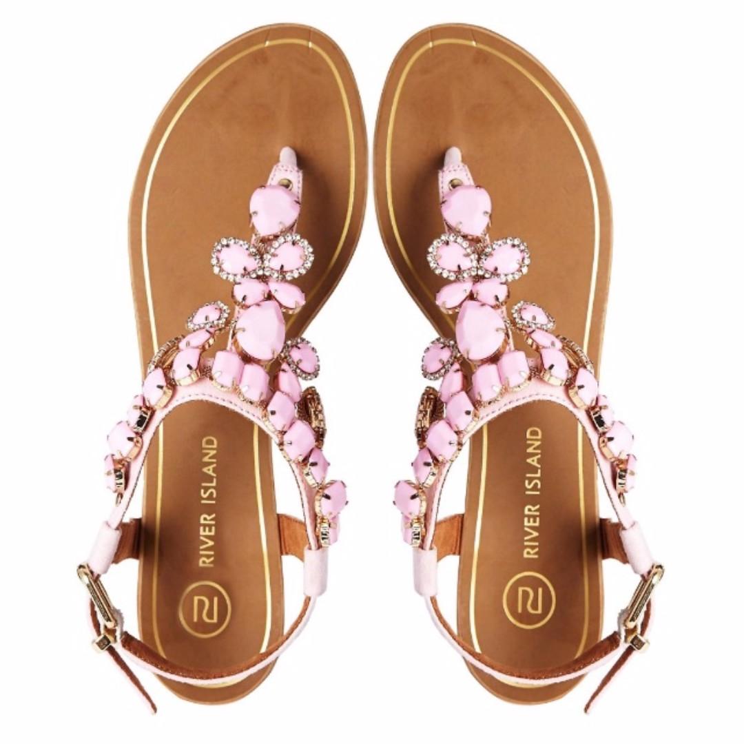 183a0f6b1133e River Island Gem Flat Sandals UK3