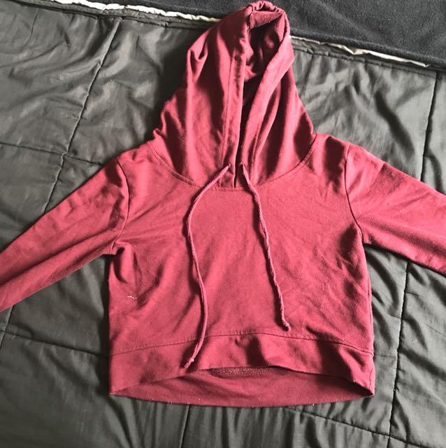 Supré • maroon cropped hoodie