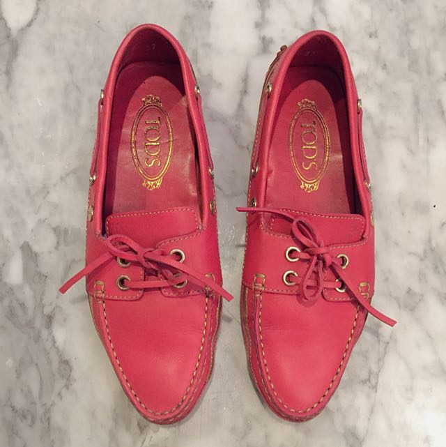 Tod's Full Leather Loafers Hot Pink Size 37 Fits 38
